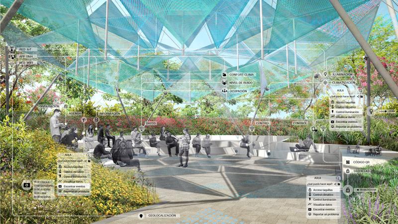 Concepto de clase abierta, en un espacio protegido por la vegetación, conectado y en el que los usuarios pueden hacer uso de la tecnología interactiva con la que se equiparán estos espacios.