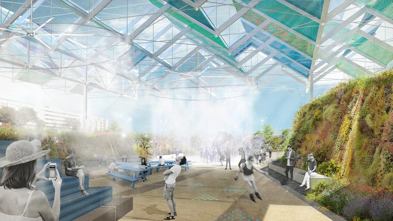 Espacio que combinan vegetación, tecnología y confort ambiental mediante anillos climáticos con ventilación activa.