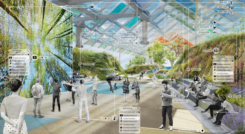 Digital Hub, espacio conformado por vegetación, una cubierta ligera y una gran pantalla con gente mirándola.