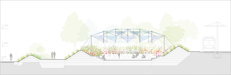 Plano transversal de una clase abierta para el campus inteligente de la Universidad de Málaga.