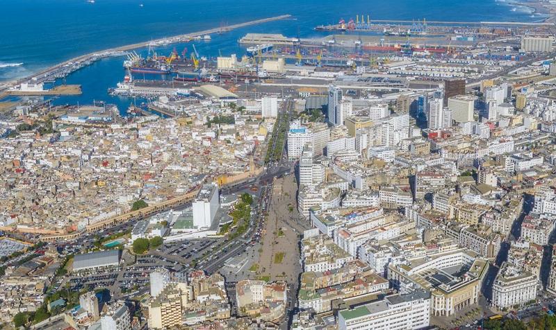 Vista aérea de la ciudad de Casablanca y su puerto