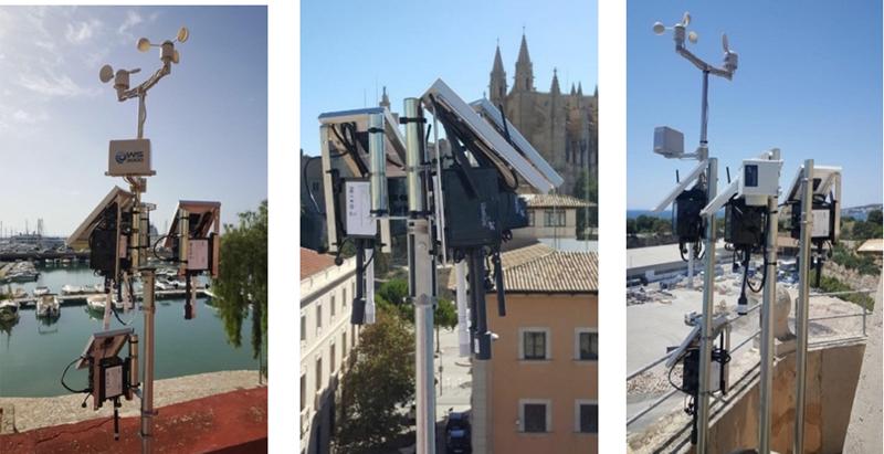 Figura 2. Fotografías de diferentes estaciones de medida usadas en su emplazamiento definitivo
