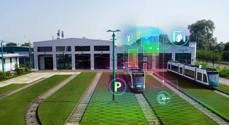 Vista general de cocheras de tranvía con esquema de funcionamiento de sistema de conectividad sobreimpreso.