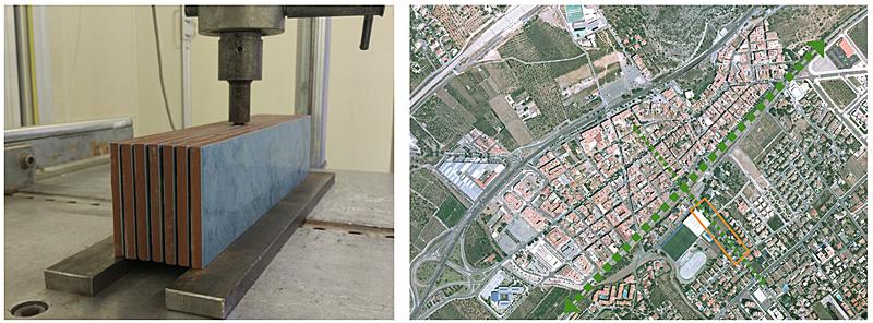 Figura 1. Ejemplo de ensayo de cizalla realizado al sistema cerámico.Figura 2. Vista áerea del casco urbano de Benicàssim (zona de actuación marcada en naranja).