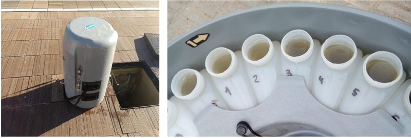 Figura 5. Ejemplo de equipos instalados en el demostrador: (a) tomamuestras automático, (b) botellas tomamuestras.