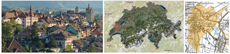 Figura 2. Foto Orbe, ubicación geográfica (http://www.geo.vd.ch y https://map.search.ch: Orbe).