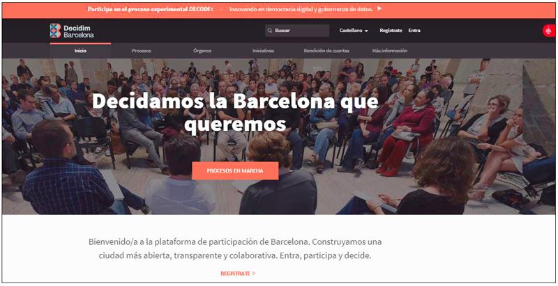 Pantallazo de la página principal de la plataforma de participación de Barcelona.