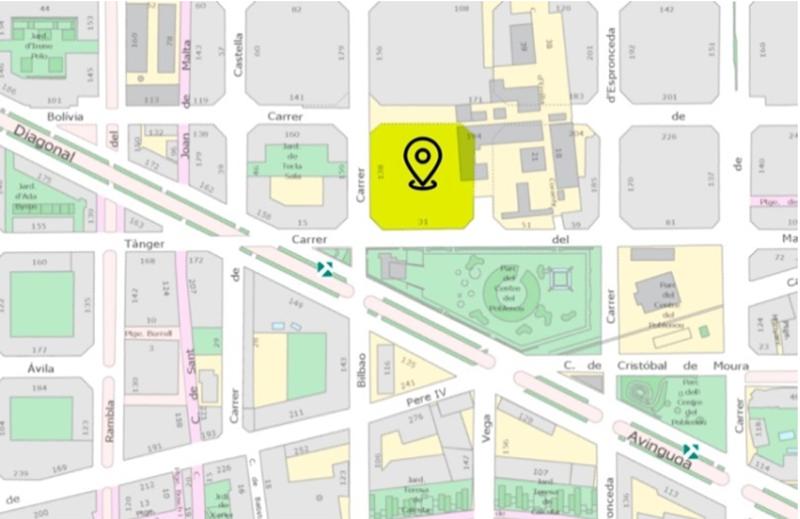 Un plano de la calle marcando el sitio exacto donde se va a construir.