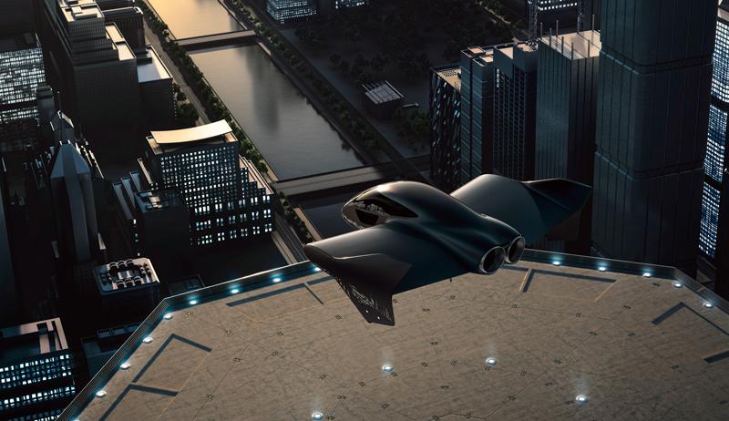 Imagen de vectores de un vehículo aéreo de Boeing para la movilidad urbana.