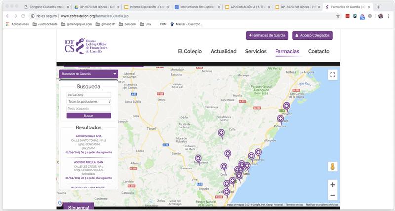 Figura 2. Buscador de farmacias de guardia del ICOF CS en la web. De aquí es de dónde se toman los datos para dipcasbot.