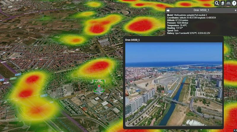 Figura 4. Ejemplo de uso de drones para captura de datos urbanos en tiempo real.