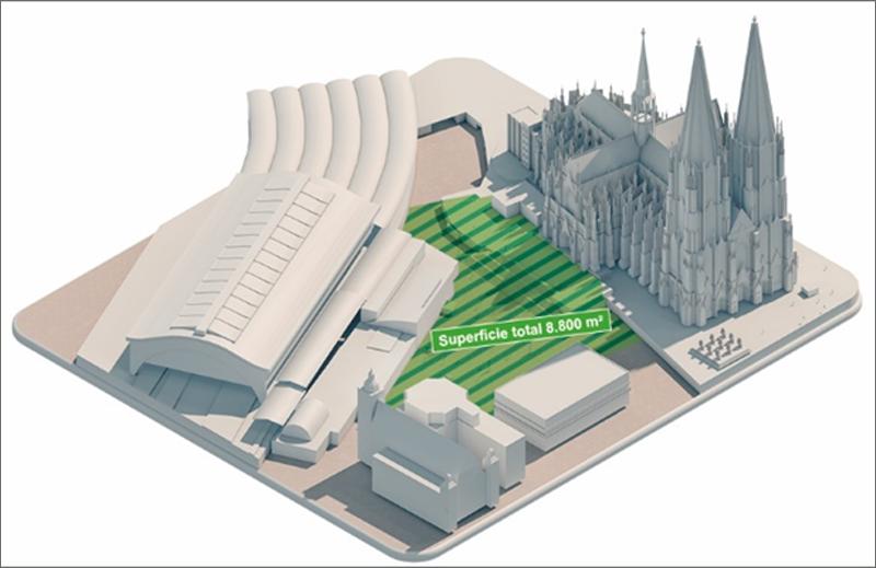 Figura 1. Tarea Domplatte Colonia: observación de una superficie de 8.800 m² con tecnología de vídeo.