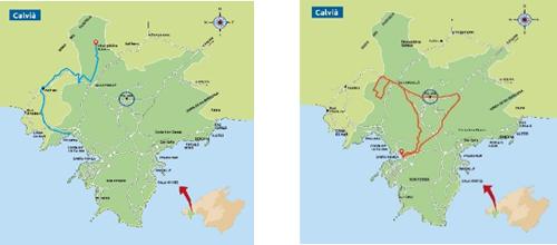 Ejemplo de algunas rutas turísticas para Vehículos Eléctricos ligeros en Calvià.