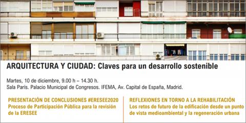 Ministerio de Fomento organiza la Jornada 'Arquitectura y Ciudad: Claves para un desarrollo sostenible' el 10 de diciembre en Madrid