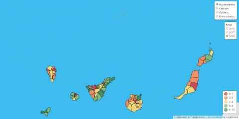 Mapas digitales interactivos recogen las puntuaciones de los portales de transparencia de Canarias