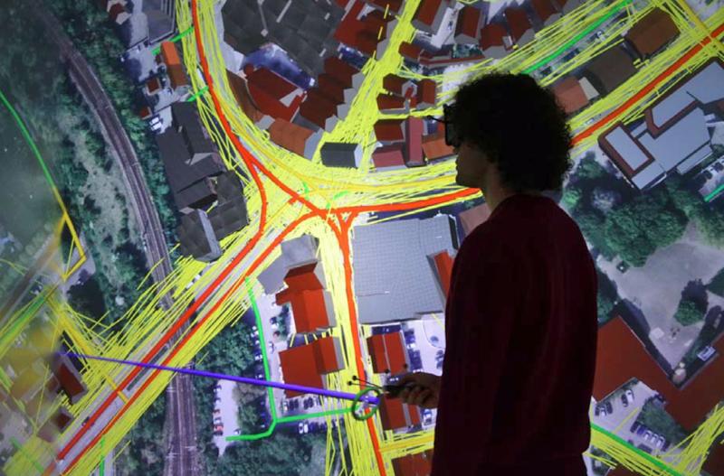 flujo de tráfico y peatones