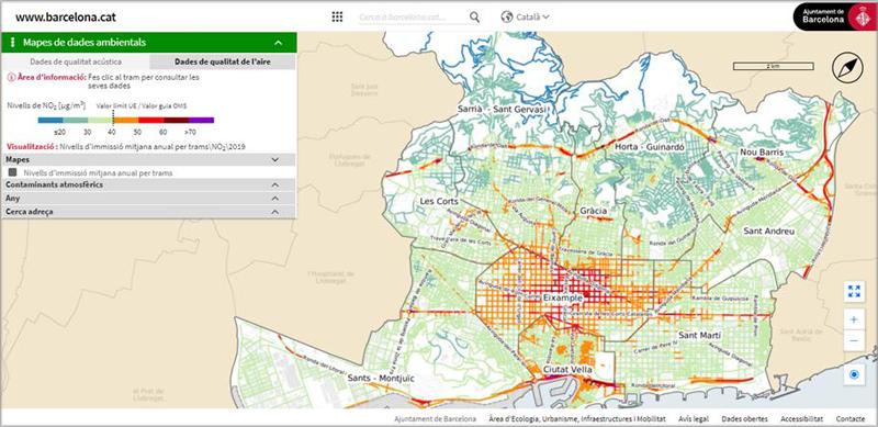 mapa de la calidad del aire de Barcelona