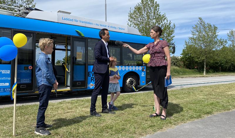 carretera eléctrica para cargar vehículos eléctricos en Lund, Suecia