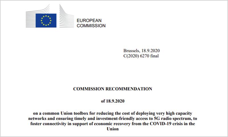 recomendación sobre el 5G de la Comisión Europea