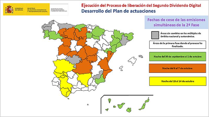 mapa de cese de emisiones del Segundo Dividendo Digital