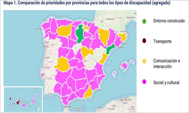 Figura 2. Comparación de prioridades por provincias para todos los tipos de discapacidad -agregado-.