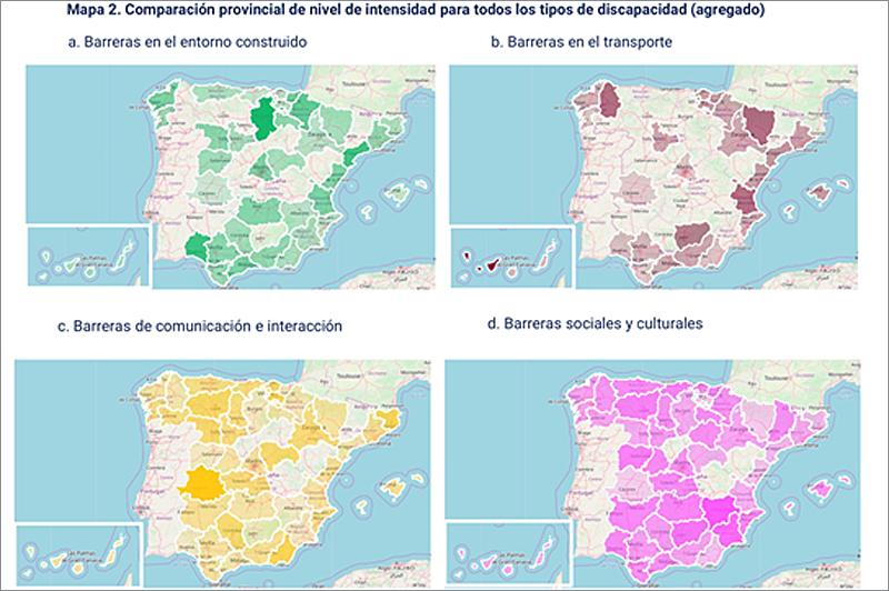 Figura 3. Comparación provincial de nivel de intensidad para todos los tipos de discapacidad -agregado-.