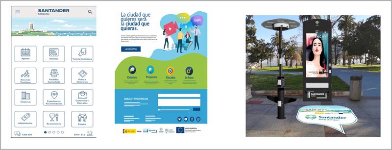 Figura 4. Diseño de la app Santander Ciudad, plataforma de participación ciudadano y espacios tecnológicos.