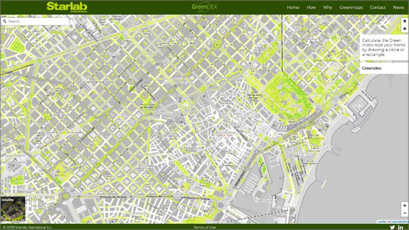 Vista del mapa de vegetación de la ciudad de Barcelona.