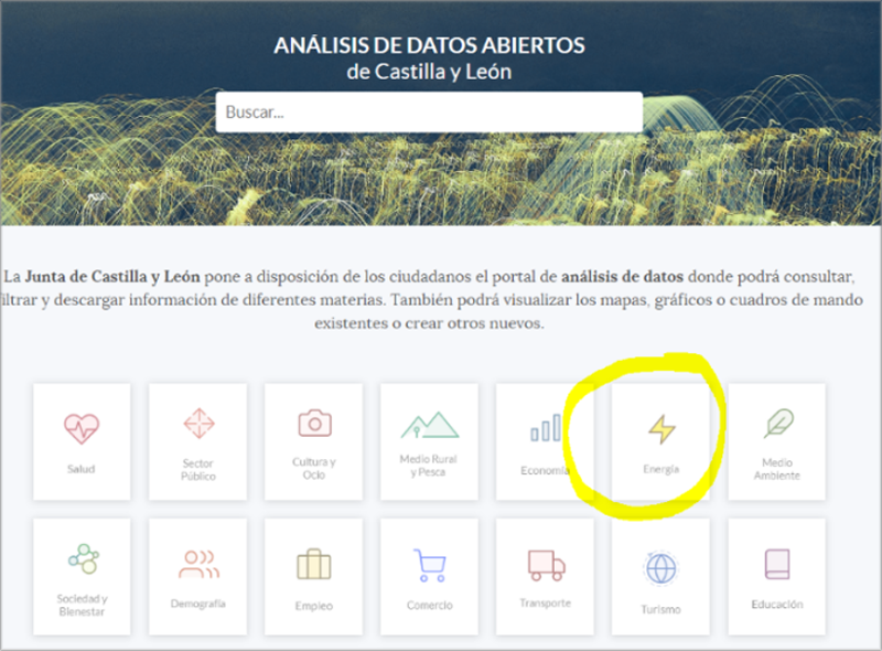 """Acceso a datos abiertos de Castilla y León – """"energía"""". Fuente: https://analisis.datosabiertos.jcyl.es/pages/home/."""