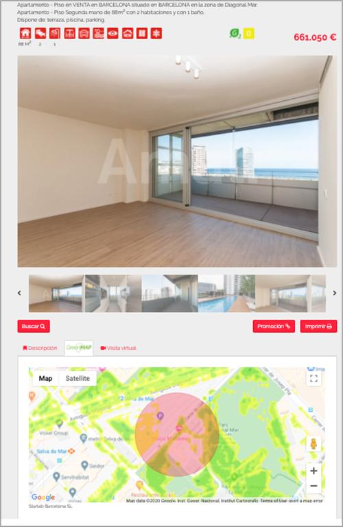 Vista de un anuncio de la página de la inmobiliaria con el rating de vegetación.