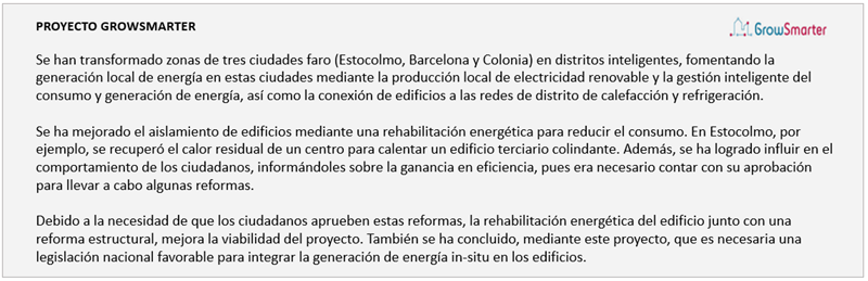 Figura 2. Síntesis del proyecto GrowSmarter, sobre la rehabilitación de distritos energéticos inteligentes.