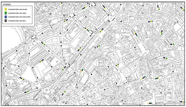 Figura 3. Nueva propuesta de contenedores en el Casco Antiguo de la Ciudad de Zamora.
