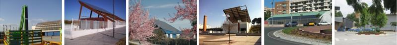 Figura 2. Centrales de recogida con placas fotovoltaicas, en Sevilla, Aranjuez, Alcobendas, Reus, Can Llong.
