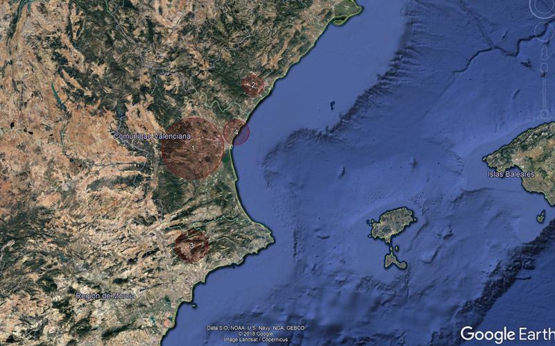 geolocalización de áreas de concentración de empresas tecnológicas en la Comunidad Valenciana