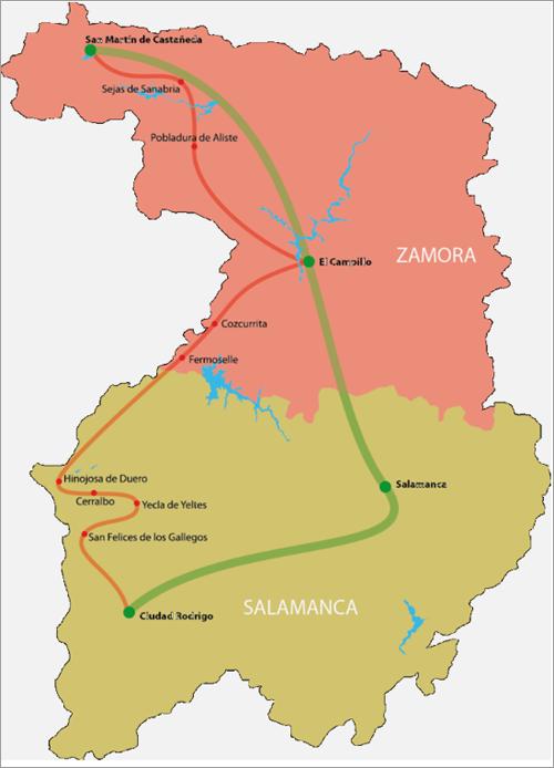 Mapa territorio Románico Atlántico