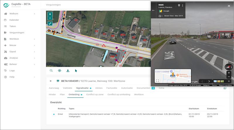 Vista de plan de señalización, ruta alternativa y visión 360