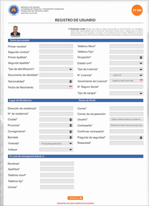 Registro de conductores perfil empresa/dueño.