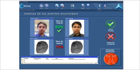 Sistema de seguridad, verificación y control de acceso mediante captura y almacenamiento de datos biométricos y su procedimiento asociado