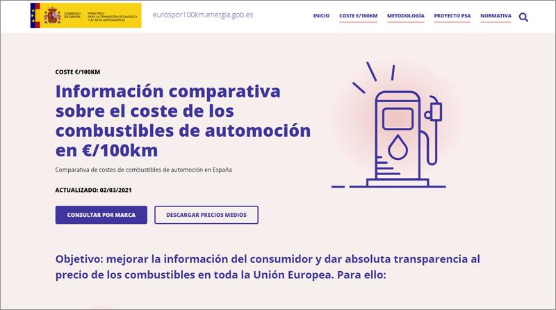 página web 'Euros por cada 100 kilómetros'