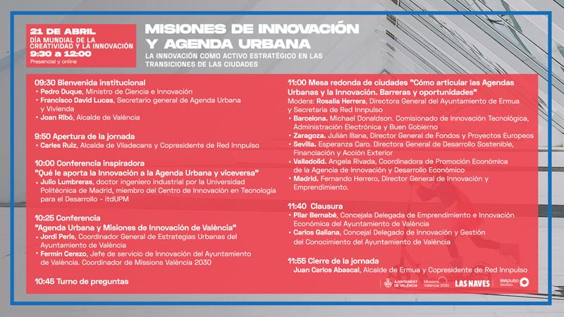 Programa de la jornada 'Misiones de Innovación y Agenda Urbana'.