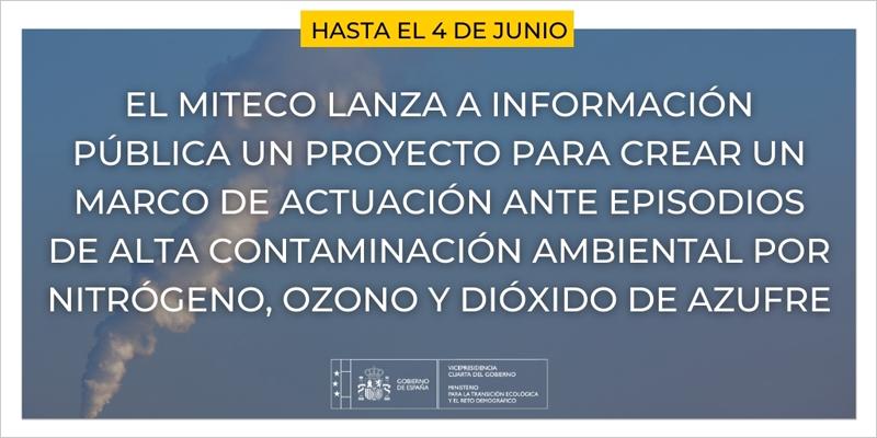 Abierto a información pública el proyecto de Plan Marco de acción ante episodios de contaminación ambiental