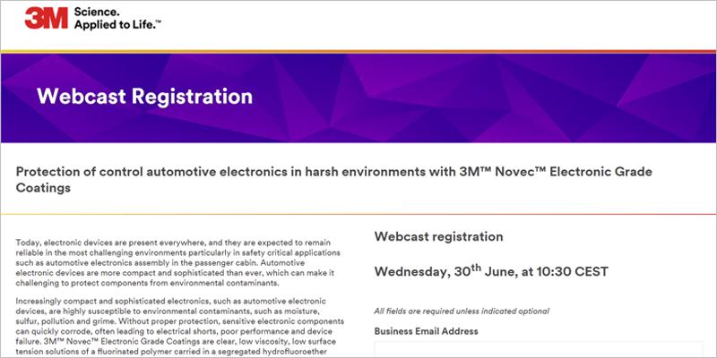 3M organiza un webinar sobre los recubrimientos de grado electrónico 3M Novec