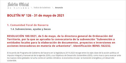 Convocatoria de ayudas a la innovación urbanística para entidades locales de Navarra