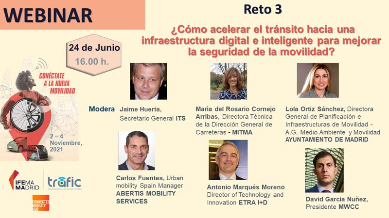 webinar 'Reto 3. ¿Cómo acelerar el tránsito hacia una infraestructura digital e inteligente para mejorar la seguridad de la movilidad?'