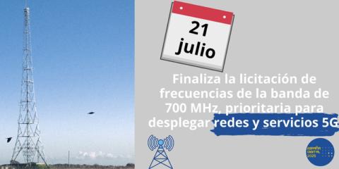 Concluye la subasta de frecuencias de la banda de 700 MHz, prioritaria para el despliegue del 5G
