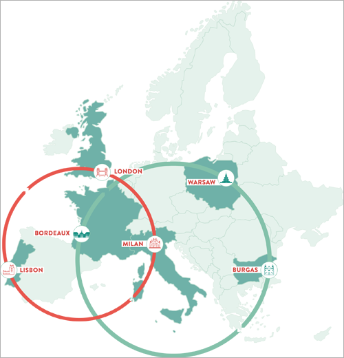 ciudades piloto y ciudades socias de Sharing Cities