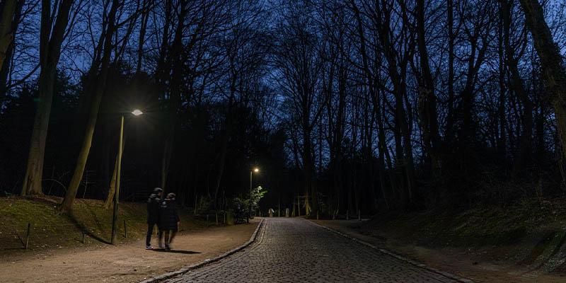 iluminación inteligente del parque urbano Bois de la Cambre en Bruselas