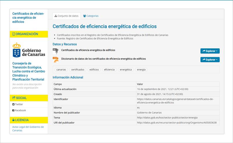 plataforma de datos abiertos de Canarias