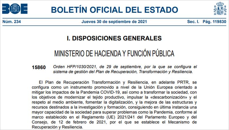 Aprobadas dos órdenes ministeriales sobre los fondos del Plan de Recuperación